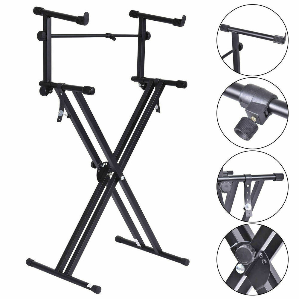 pro adjustable 2 tier x style dual keyboard stand electronic piano double ebay. Black Bedroom Furniture Sets. Home Design Ideas