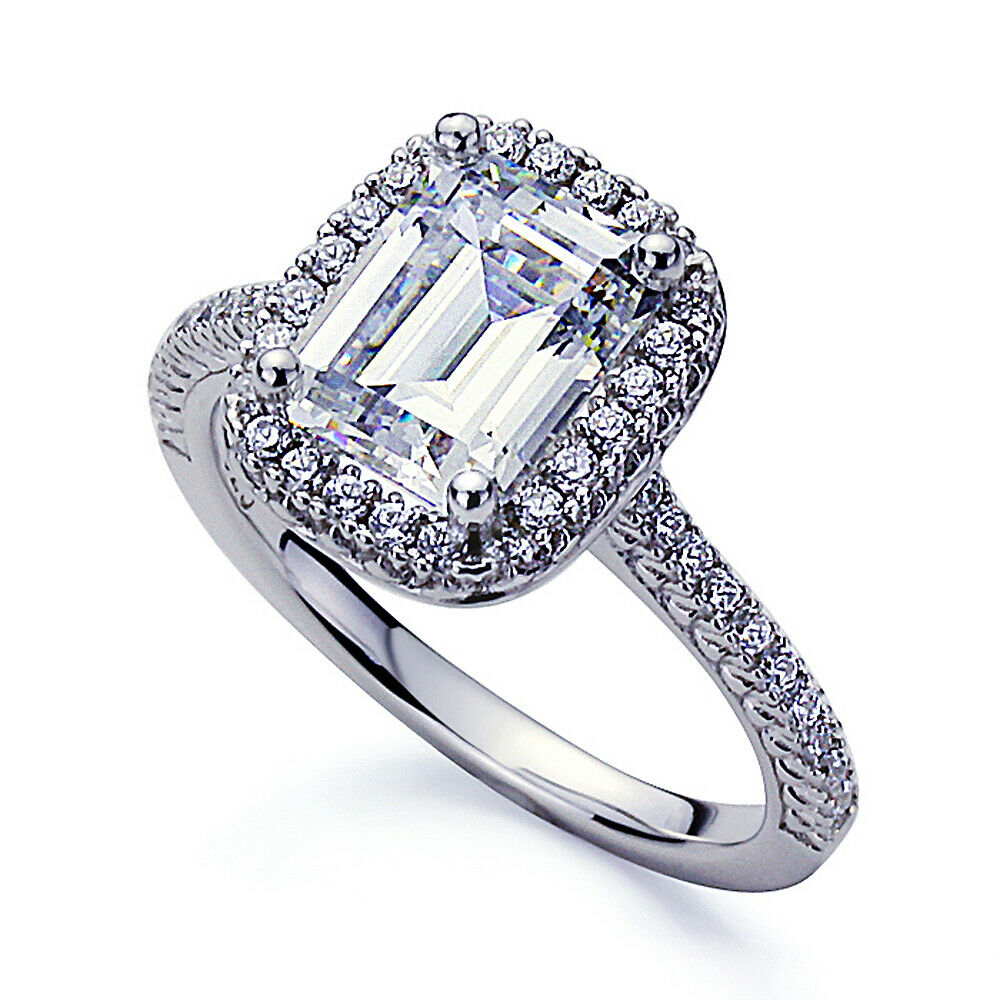 2mm Platinum Plated Sterling Silver 2 5ct CZ Halo Wedding Engagement Ring set