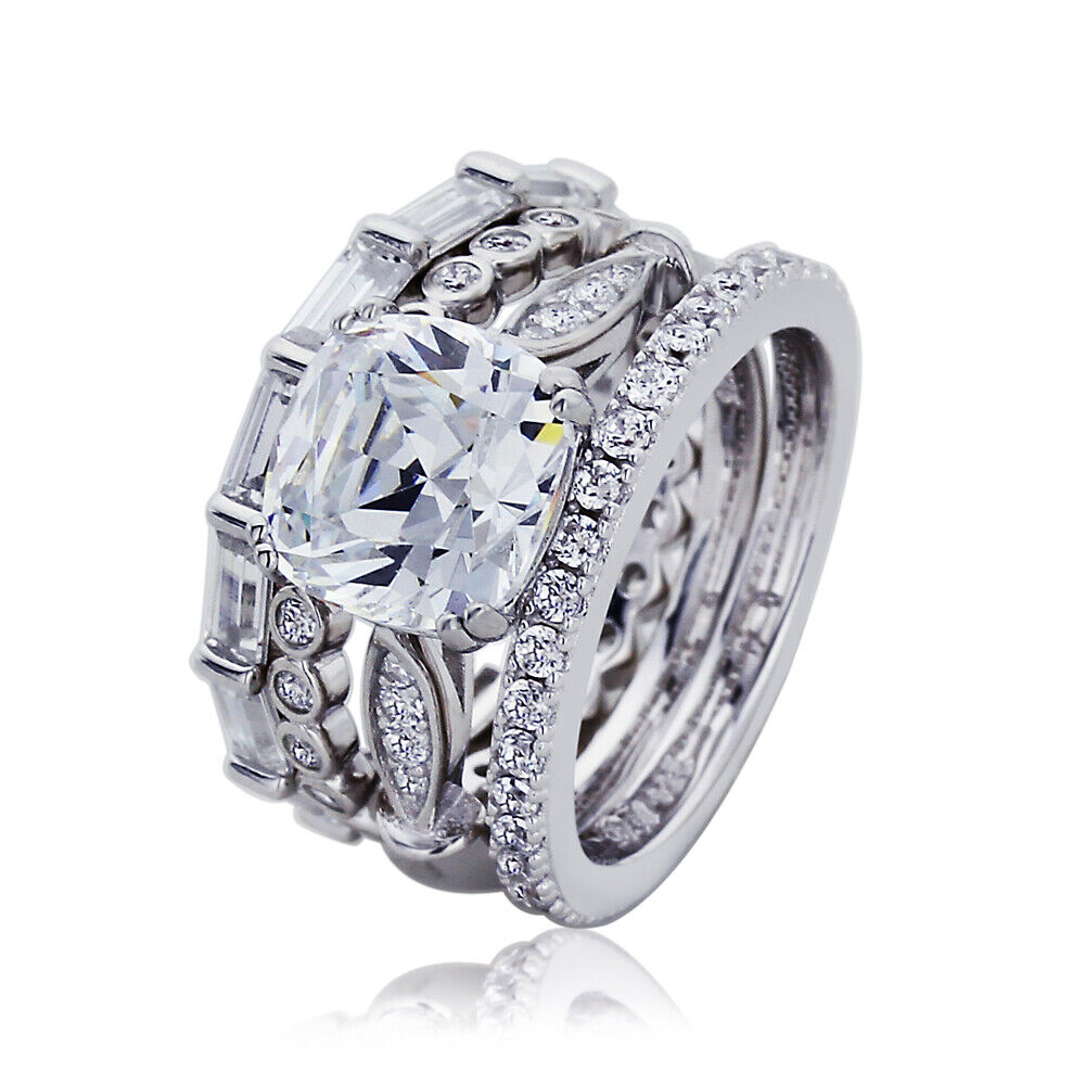 wedding rings and engagement rings 9mm platinum plated silver 2 7ct cz eternity wedding 1013