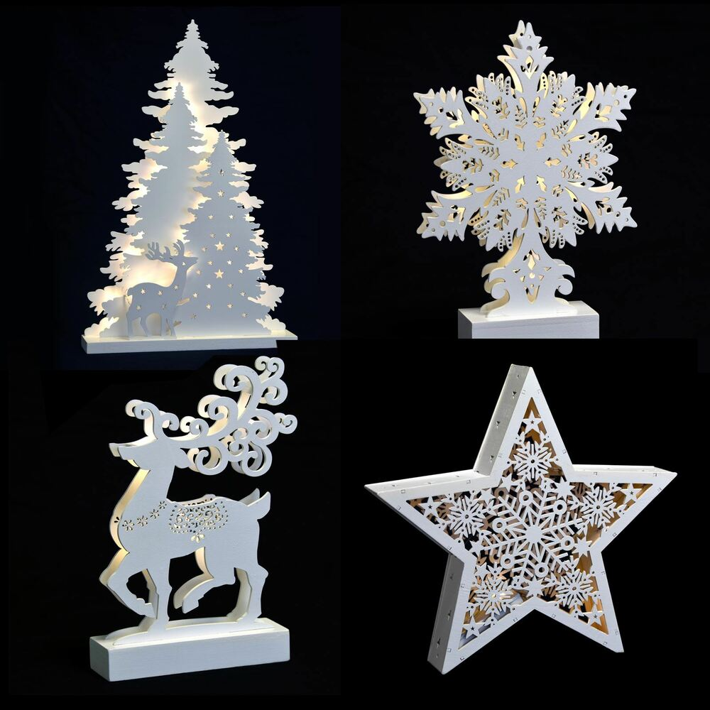 New Christmas White Light Up Decoration Reindeer Trees