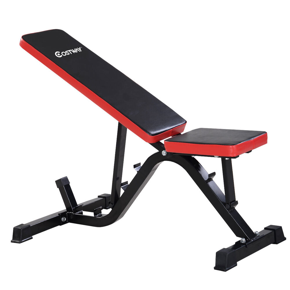 Adjustable sit up ab incline abs bench flat fly weight press gym red ebay Abs bench
