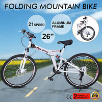 """FOLDING MOUNTAIN BIKE 26"""" 21 SPEED MTB BICYCLE OUTDOOR HARDTAIL SPORTS GREAT"""