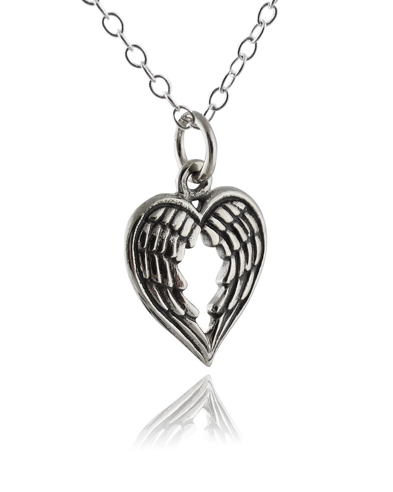 Heart Shaped Angel Wings Necklace 925 Sterling Silver