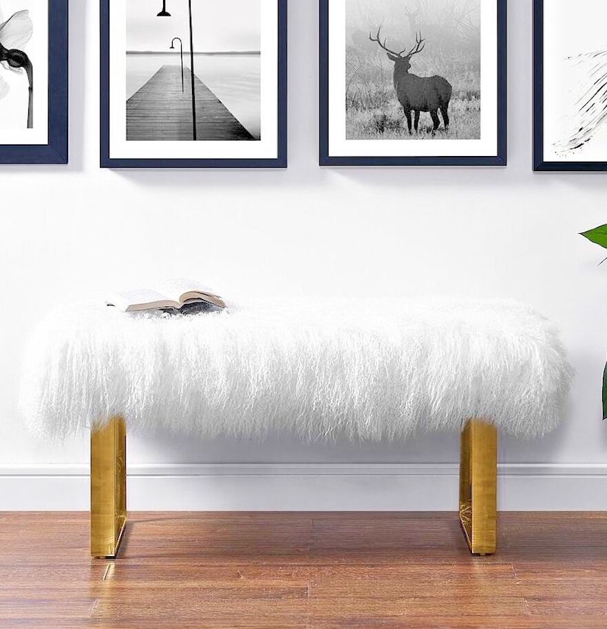 Horchow Jonathan Adler Replica Long Haired Sheepskin Fur