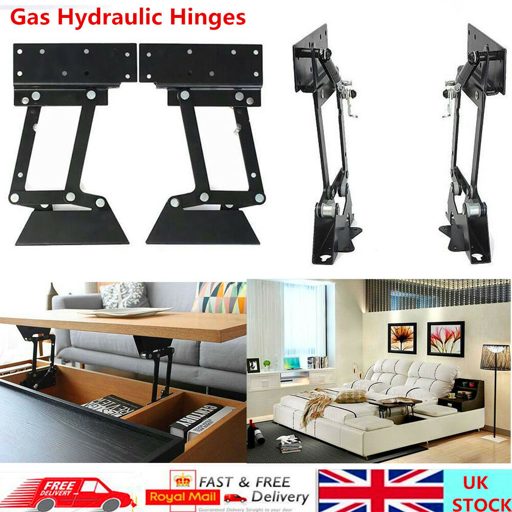 2pcs Coffee Table Lift Up Top Lifting Frame Mechanism Diy Gas Hydraulic Hinge Ebay