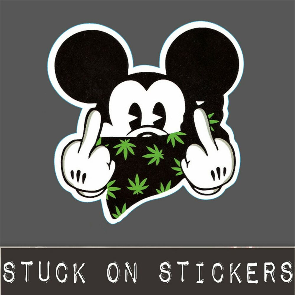 Details about mickey mouse gangster sticker weed 420 graffiti decal laptop decal skateboard pc