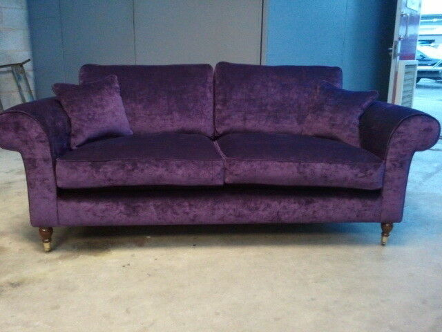 Bespoke 3 seater sofa settee purple aubergine various for Purple chenille sofa
