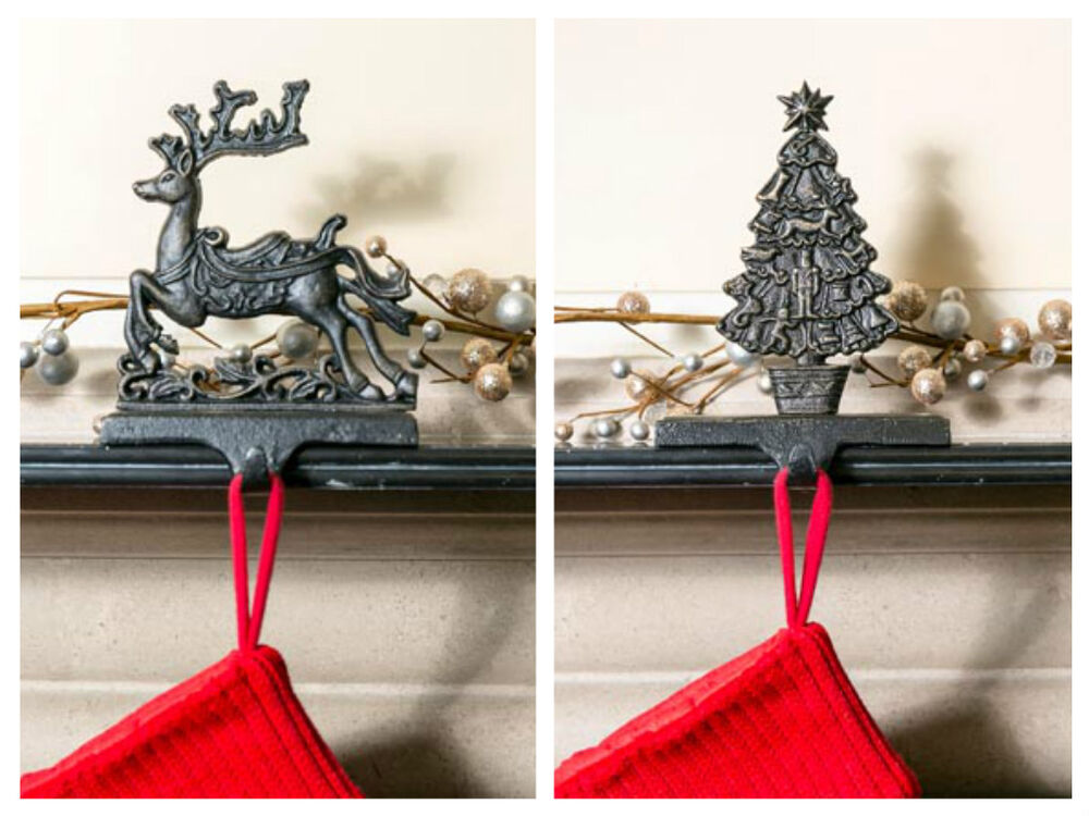 Heavy cast iron christmas stocking holder hanger holds a