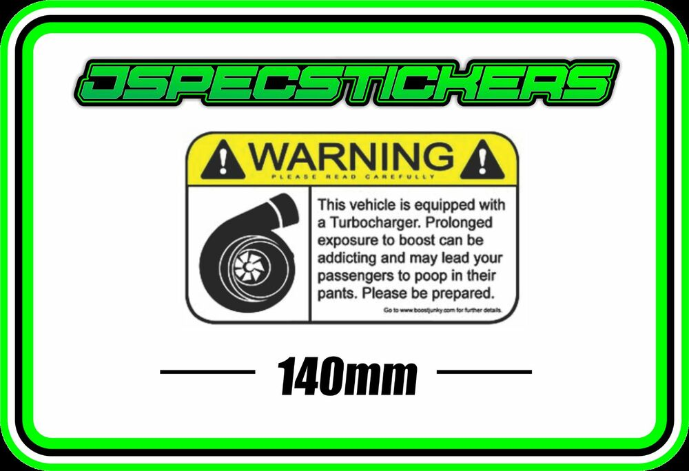 Sticker Warning Boost Funny Turbo Sticker Wrx Evo Nissan