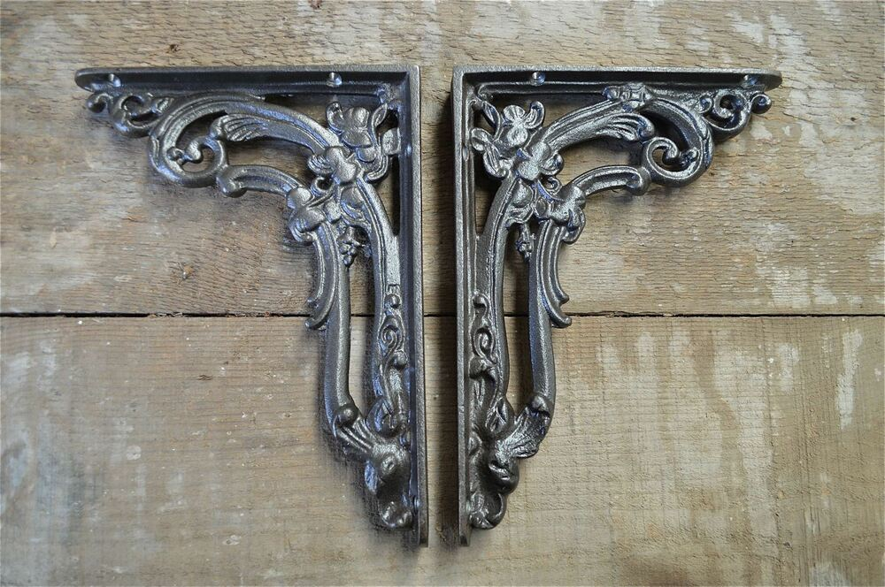 A Pair Of Antique Victorian Foliage Brackets Cast Iron