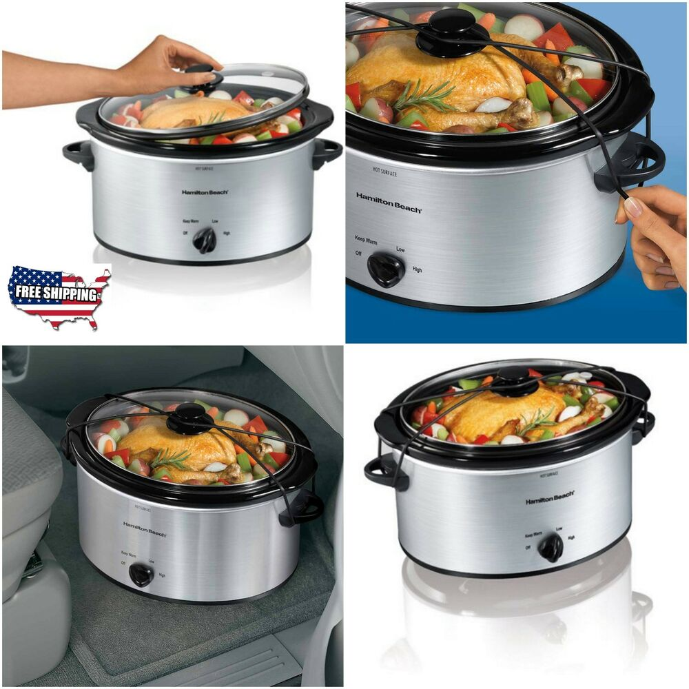 Electric Crock Pot ~ Crock pot hamilton beach slow cooker oval stainless steel