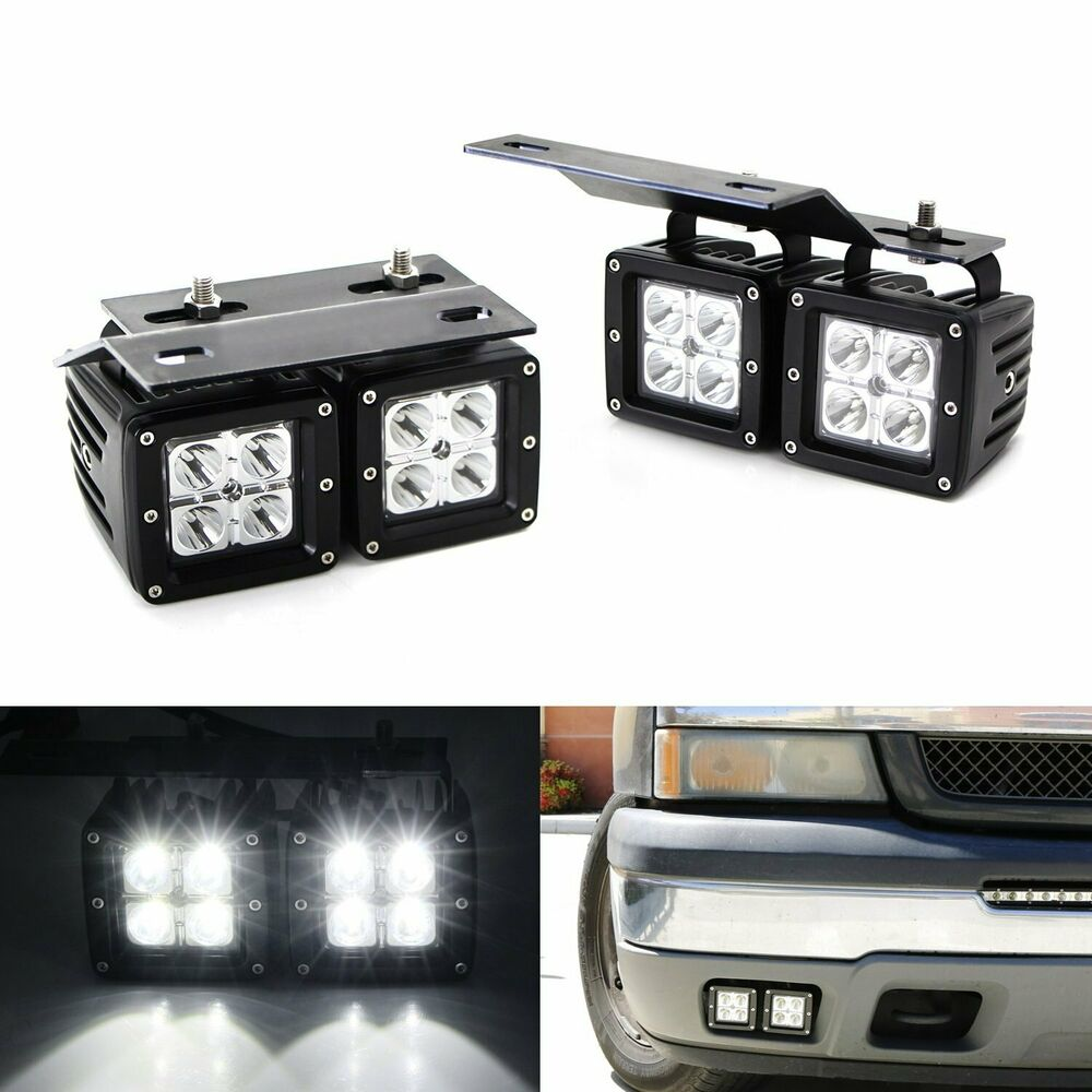 80W Dual LED Pods w/ Foglight Bracket/Wirings For ...