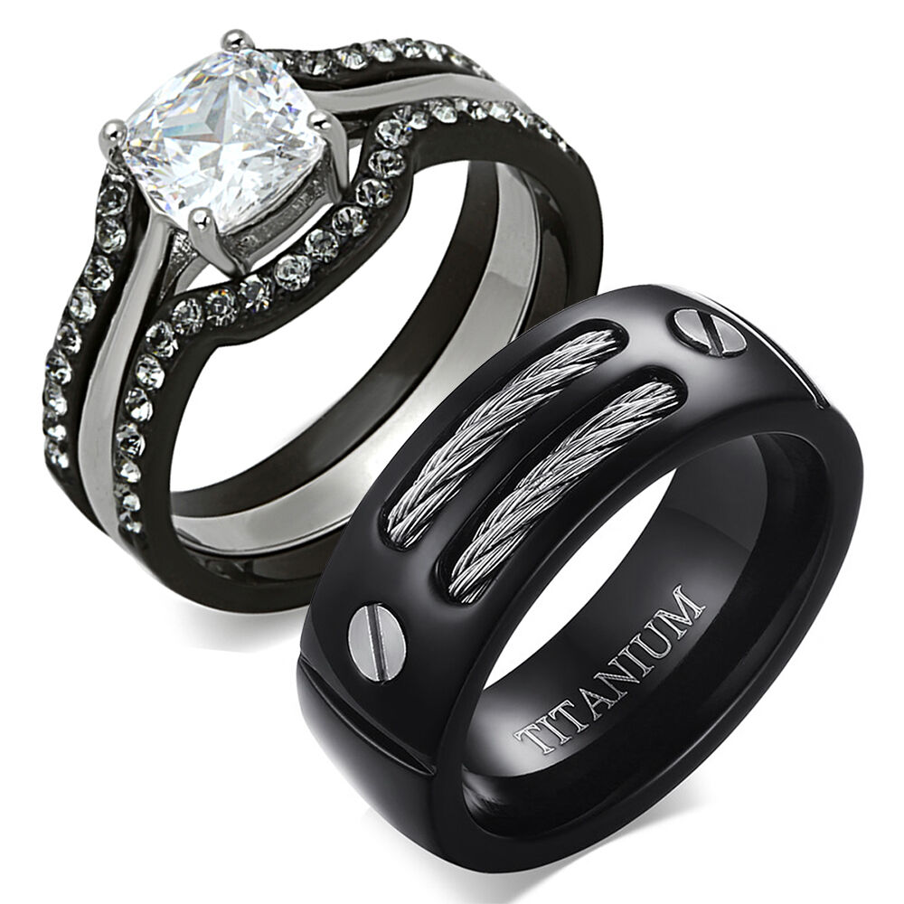 black wedding rings for her his amp hers 4 pc black stainless steel titanium wedding 1882