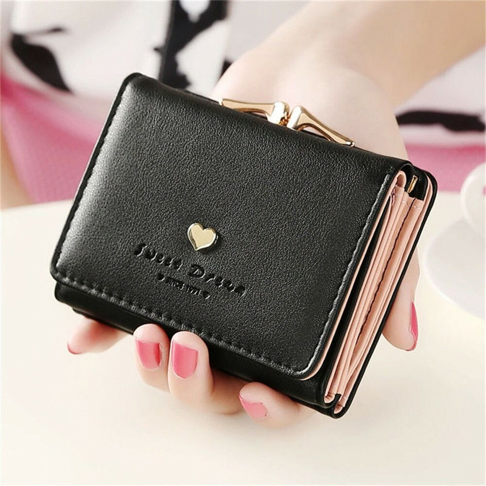 women lady leather clutch short black wallet pu card