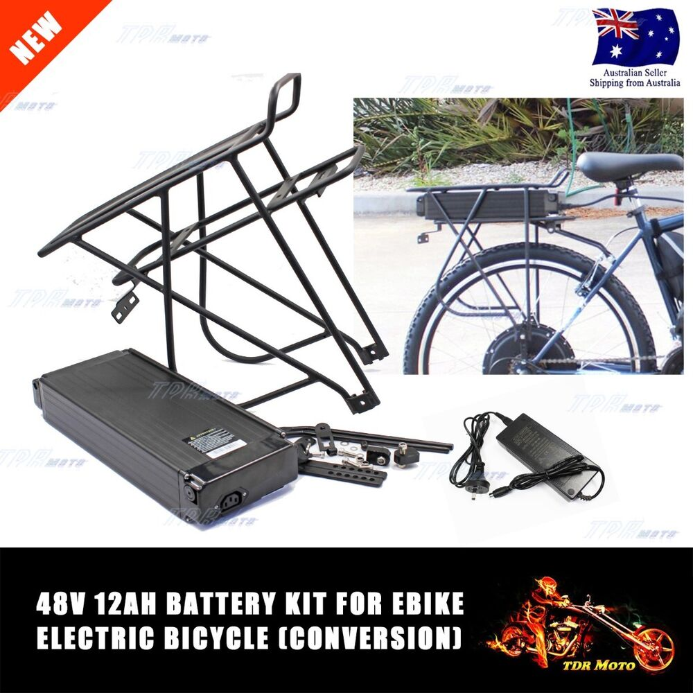 Electric Bicycle Motor Kit With Battery In India: 48V 12Ah Electric Bike Rear Rack Battery For E-Bike Kit Li