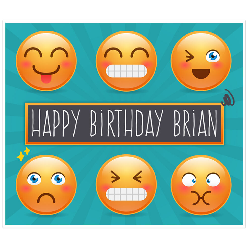 Details About Emoji Birthday Banner Personalized Party Backdrop Decoration