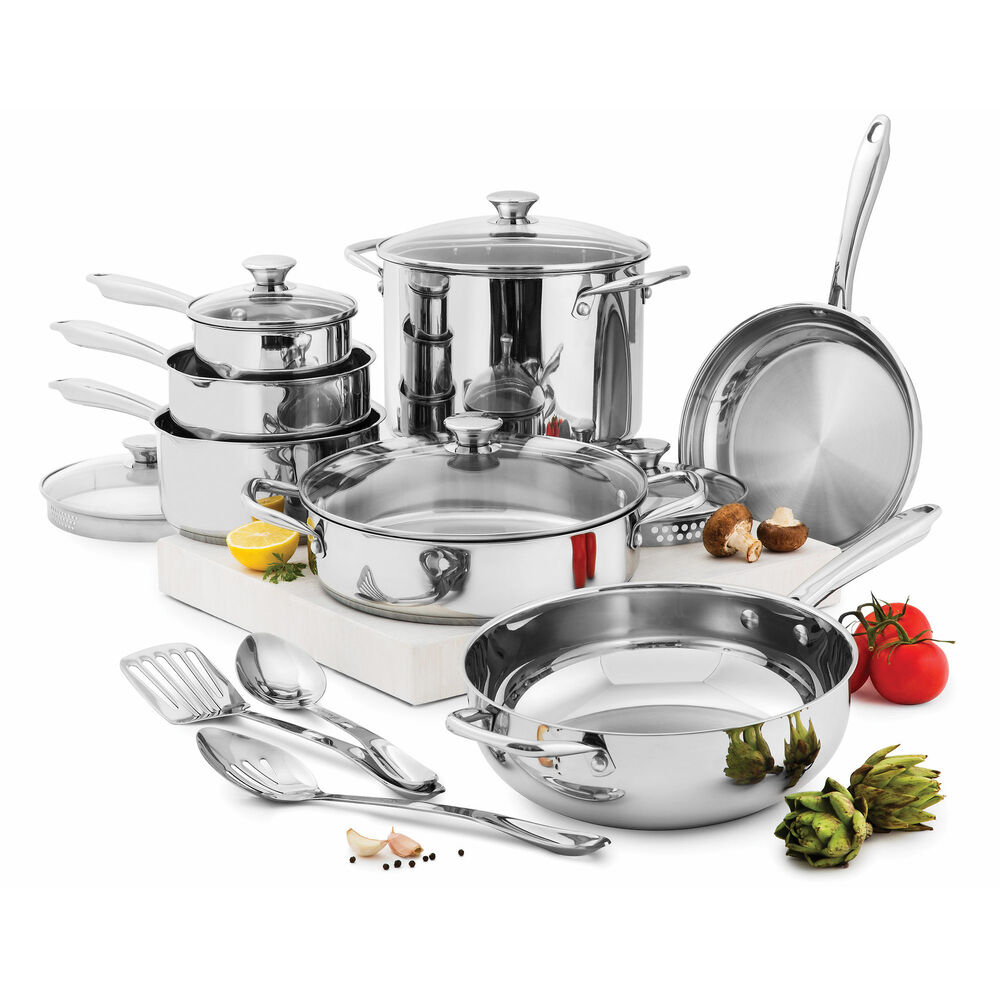wolfgang puck cooking 15 pc stainless steel cookware set pans pots glass lids ebay. Black Bedroom Furniture Sets. Home Design Ideas