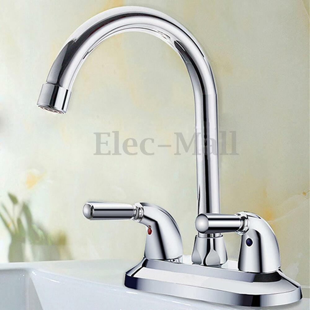 Copper faucet double handle single hole bathroom sink washbasin water mixe tap ebay for Double bathroom sink plumbing
