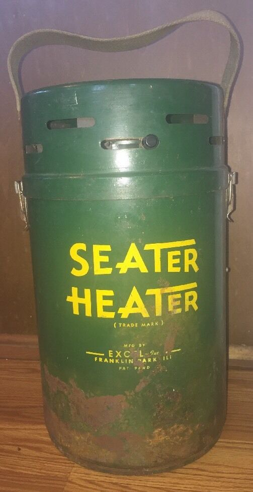 Vintage seater heater butt warmer ice fishing hunting for Ice fishing seat