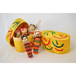Kyпить 5x Large Guatemalan Worry Dolls in a BOX - Hand Made Mayan Trouble Doll 2