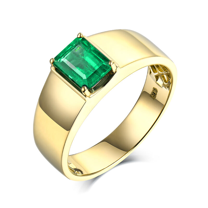 14K Yellow GOLD NATURAL STUNNING Columbia Emerald Solitaire Wedding Men s