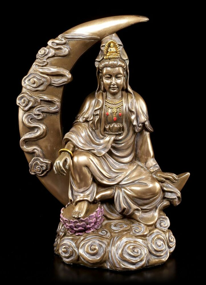 buddha figur kuan yin halbmond mond deko statue bronziert ebay. Black Bedroom Furniture Sets. Home Design Ideas