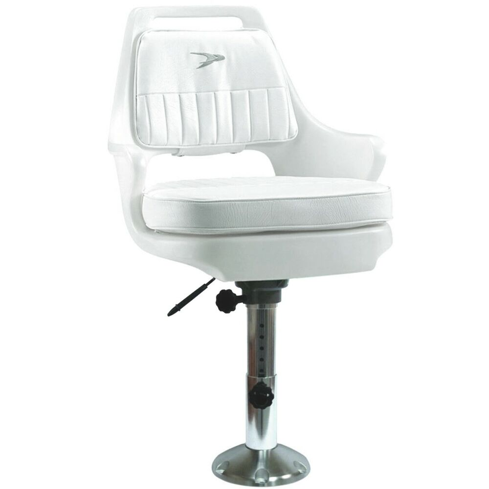 Wise adjustable white fishing boat captain pilot chair w for Fishing boat seat