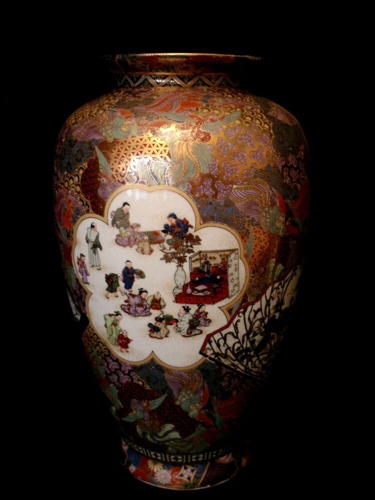 14 1 4 Quot Marked Satsuma Japanese Showa Period Satsuma Vase Ebay
