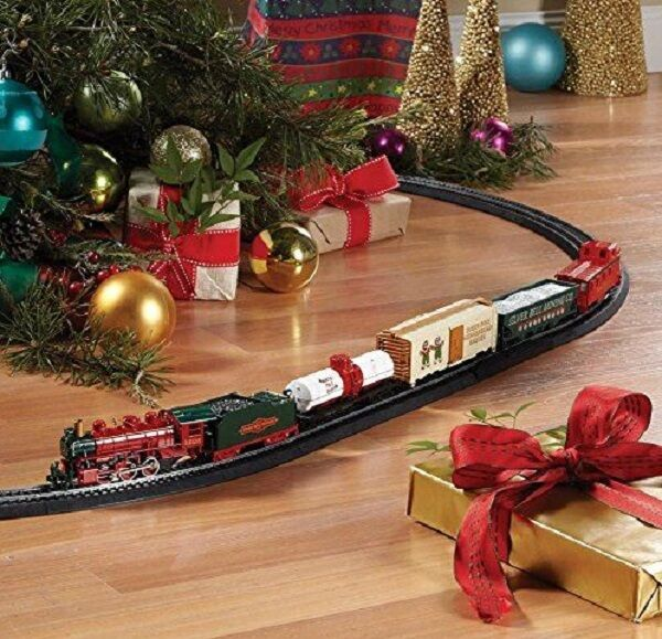 train set for christmas tree adult children electric toy oval track ready to run ebay