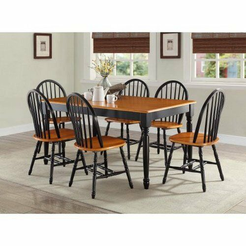 7 piece kitchen dining set farmhouse table 6 chairs solid for Kitchen table set 6 chairs