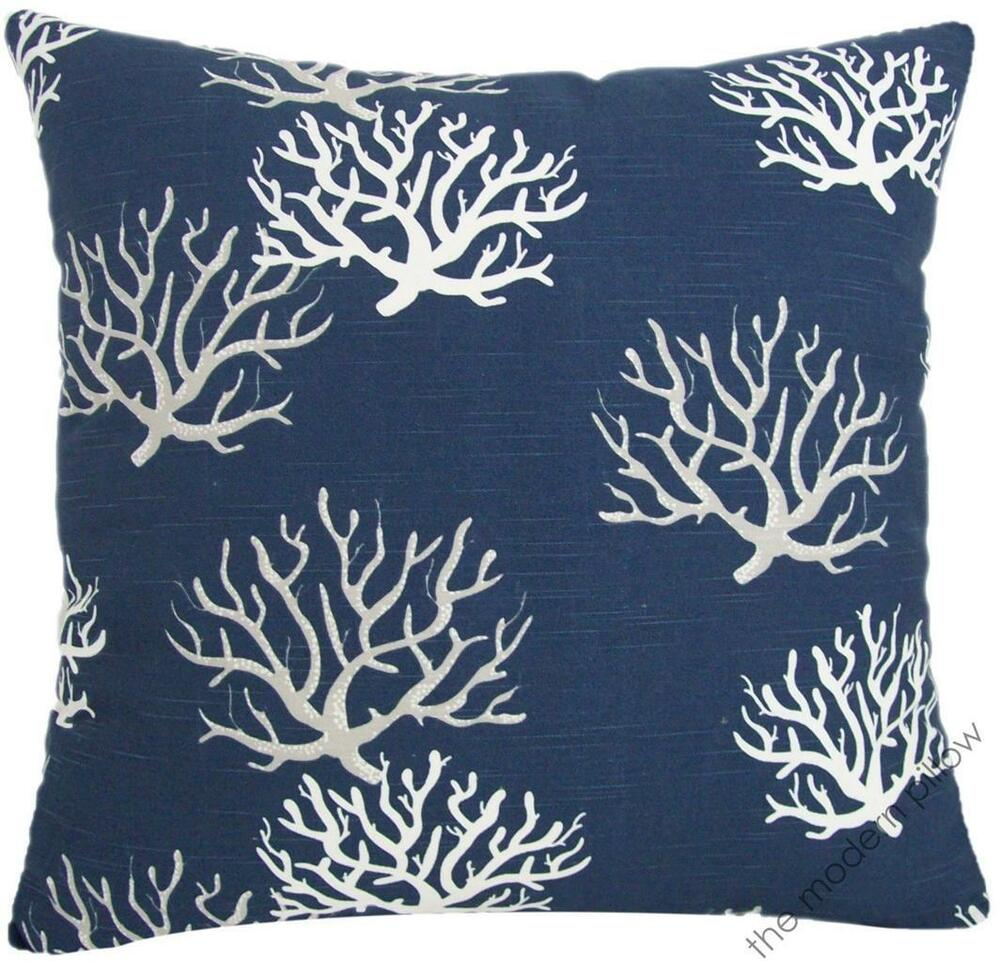 Navy Blue Gray Coral Decorative Throw Pillow Cover
