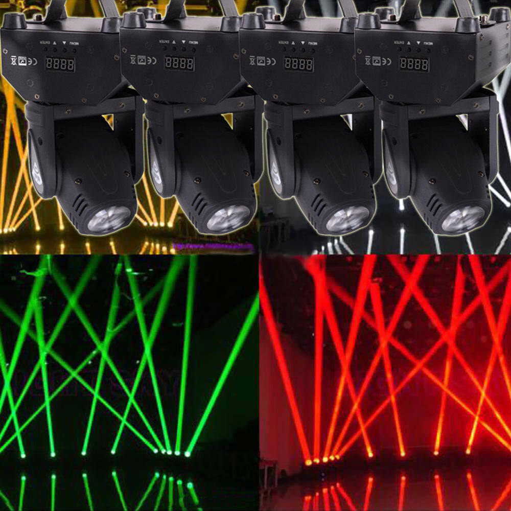 4 Pack RGBW LED Moving Head Light DMX 512 Stage Lighting Kits Party DJ Wash B