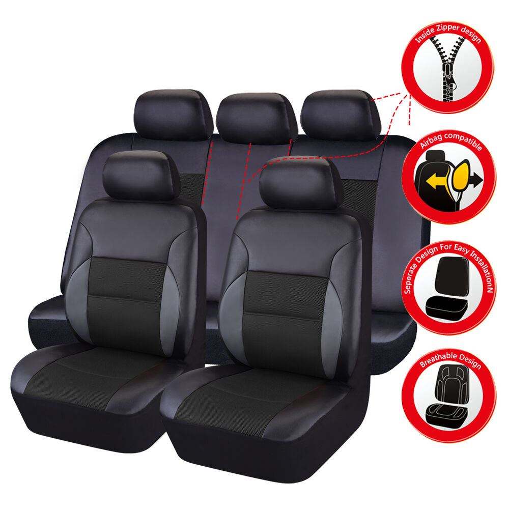 Universal leather car seat covers truck suv car seat cover for Housse siege camping car