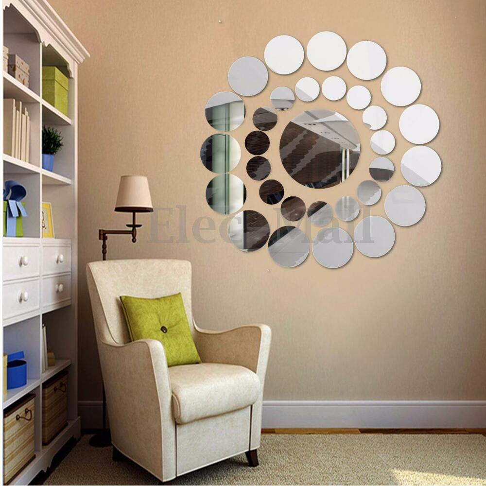 31pcs modern 3d round mirror wall sticker decor decal art for Wall decor mirror home accents