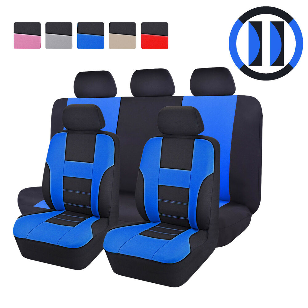 universal 12 pc black blue car seat covers protector full rear cover set new ebay. Black Bedroom Furniture Sets. Home Design Ideas