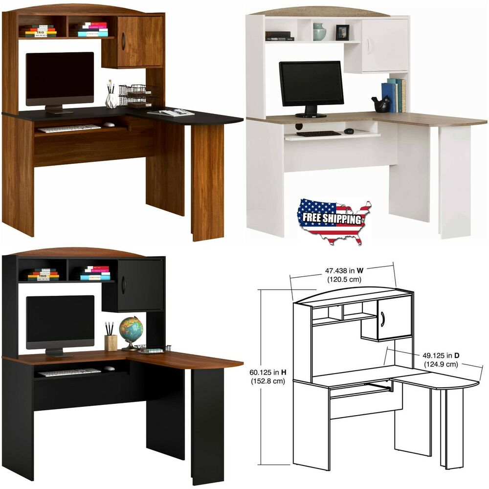 L shaped desk computer corner workstation laptop home office student furniture ebay - Home office corner desk ...