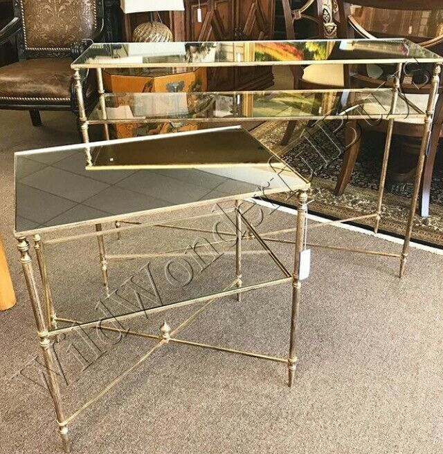 Mirror Top Console Table Antique Gold Glass Iron