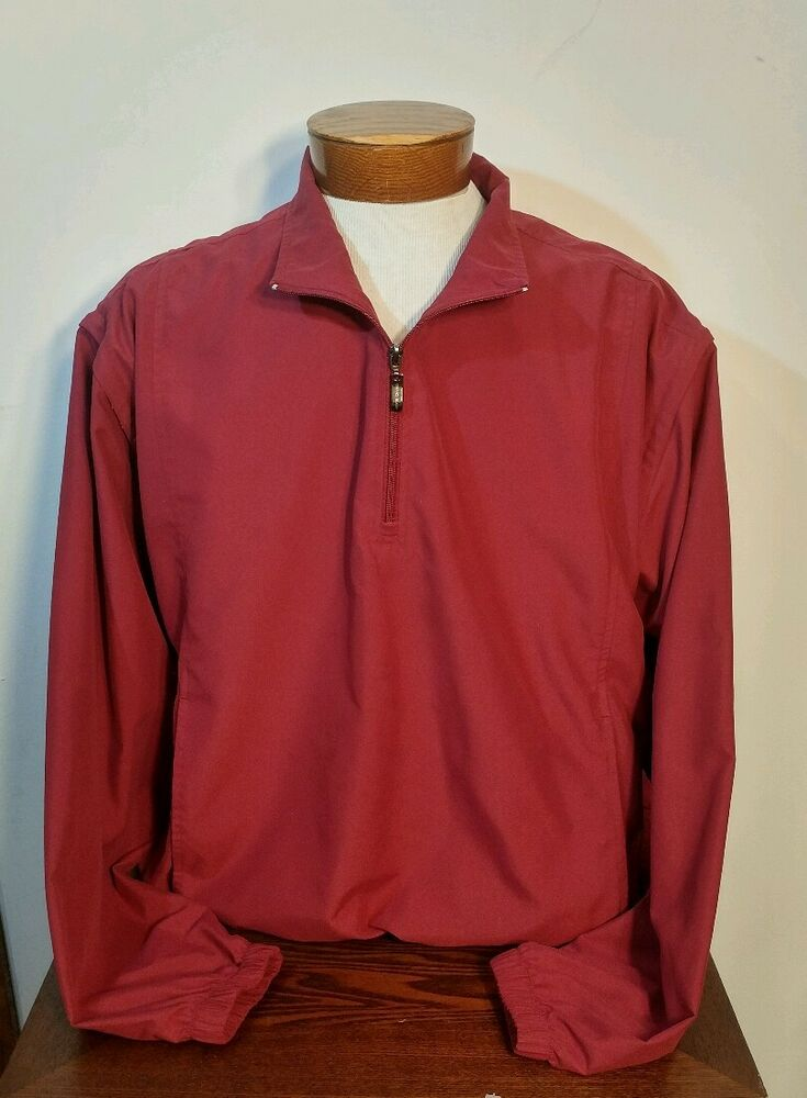 8634353b1e657 Details about Grand Slam Golf Half Zip Pullover Polyester Jacket  Windbreaker Mens Size L Red