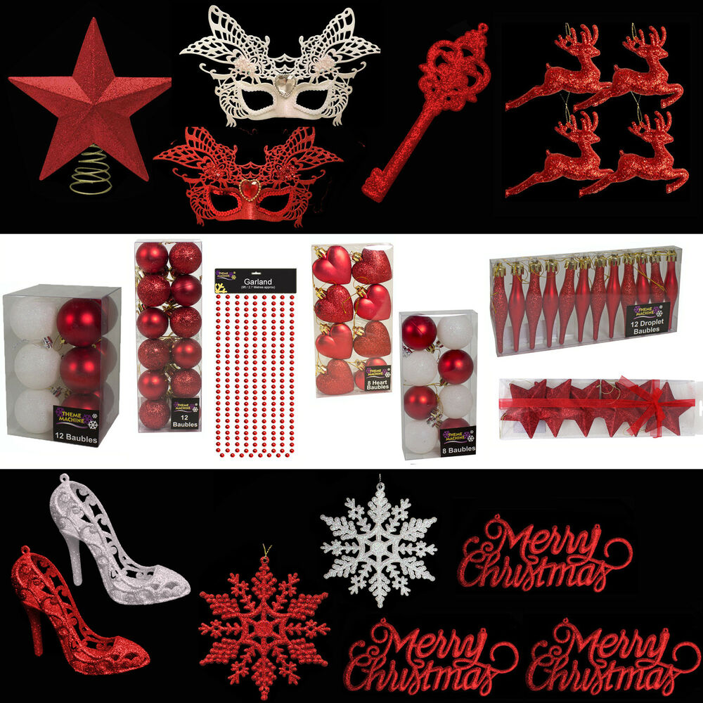 Red Glitter Christmas Tree Decorations : Red white glitter plain christmas tree decorations