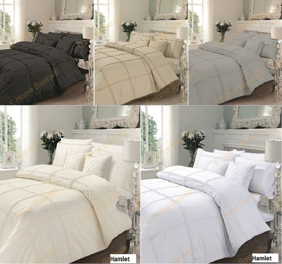 luxury duvet cover with pillowcases quilt cover bedding set hamlet all sizes ebay. Black Bedroom Furniture Sets. Home Design Ideas