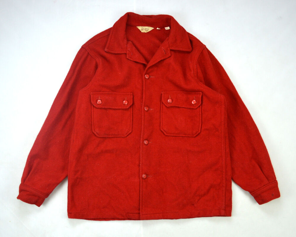 Vintage Thick Red Wool Felt Boy Scouts Official Jacket