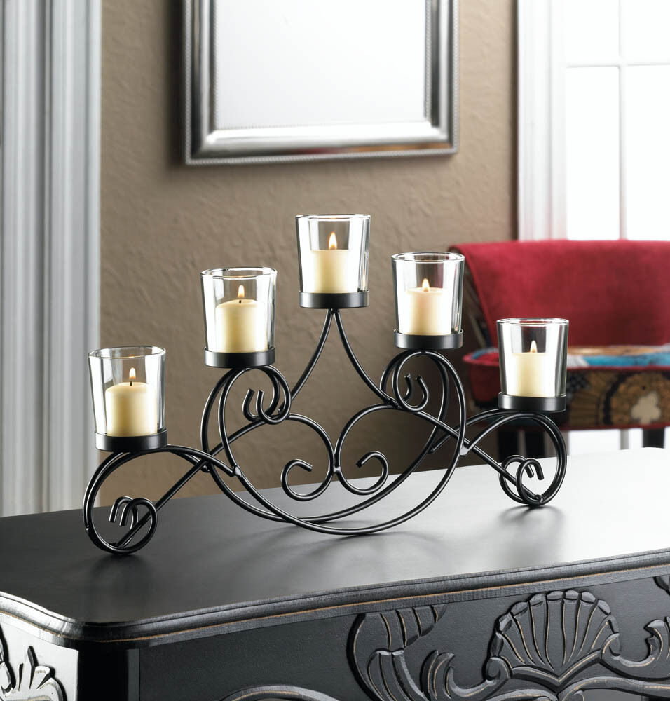 Large long black scroll fireplace candelabra candle holder
