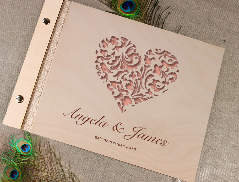 Wooden Wedding Guest Book / Photo Album Lace Heart With