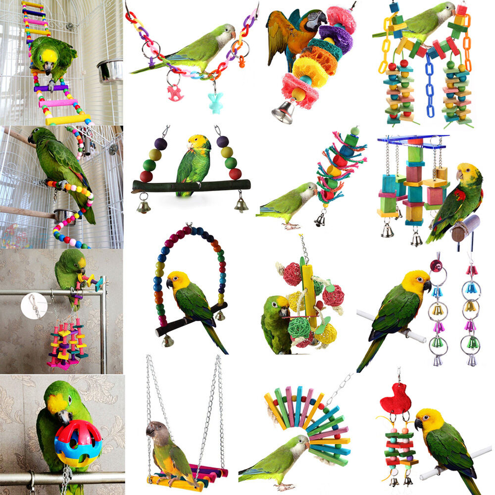 Bird Cage Toys : Pet swing bird toy parrot rope harness cage hang toys