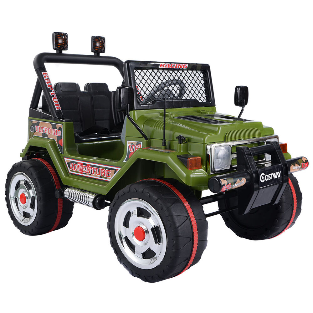 12v kids raptor jeep wrangler truck rc ride on car w double motor battery