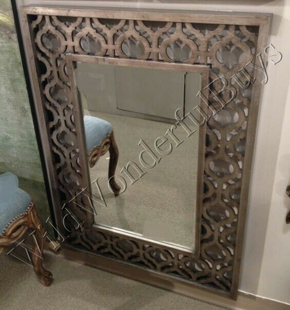Fretwork Cut Metal Wall Mirror Antique Silver 40 Quot H