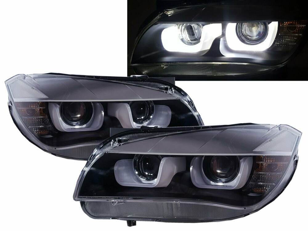 X1 E84 First Generation 2009 2015 Hid D1s Led Bar Headlight Black For Bmw Lhd Ebay