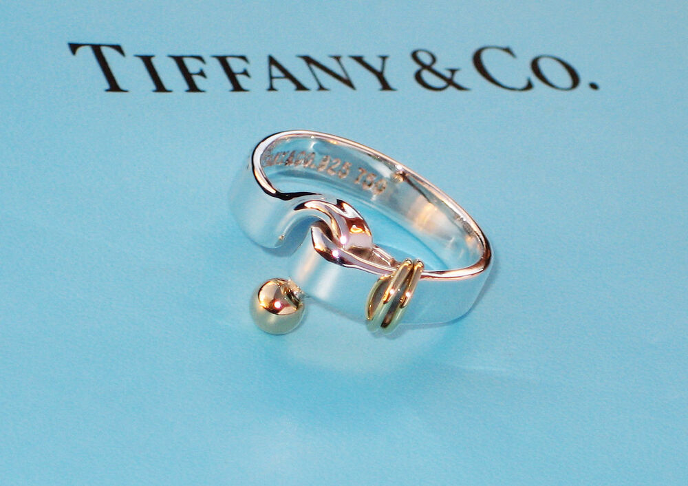 1336fee95 Details about Tiffany & Co 18K 18Ct Gold & Sterling Silver 925 Hook & Eye  Ring