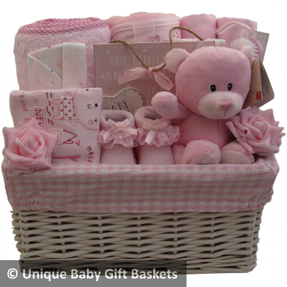 Details about Deluxe baby gift basket/hamper inc towel 4 pce clothes set keepsake toy girl