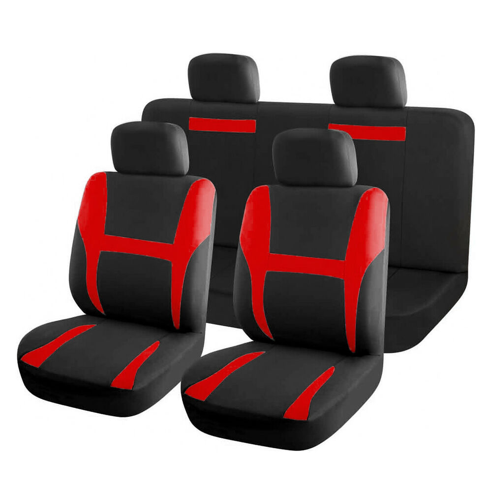 new car seat covers full set red black for auto suv ebay. Black Bedroom Furniture Sets. Home Design Ideas